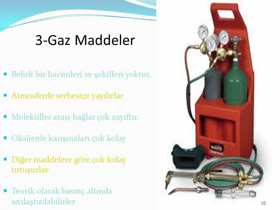 3-Gaz Maddeler Belirli bir hacimleri ve şekilleri yoktur.