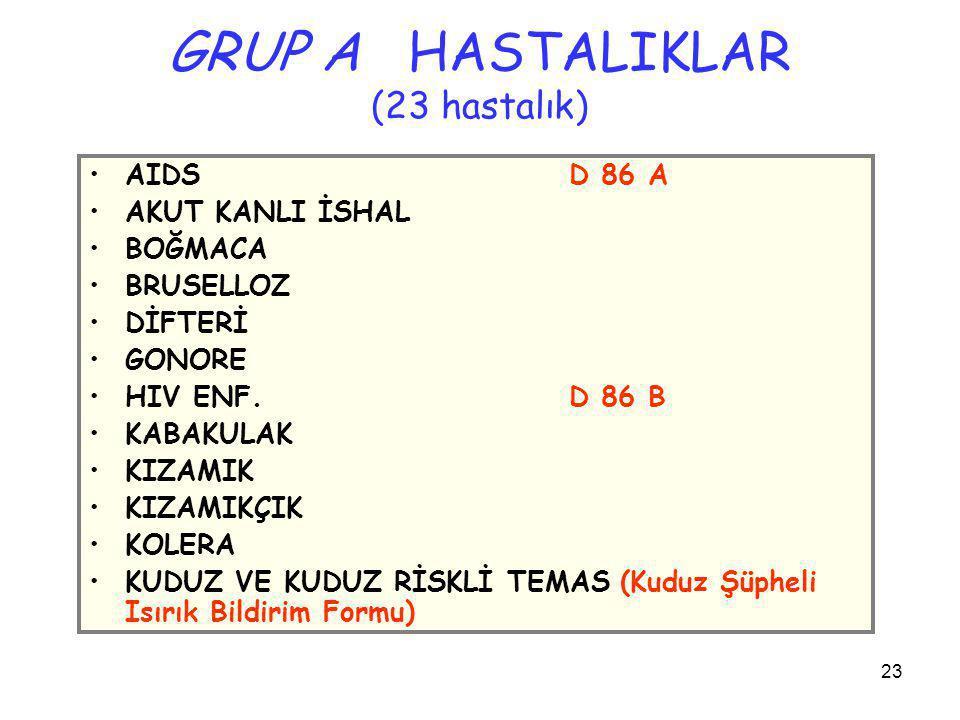 GRUP A HASTALIKLAR (23 hastalık)