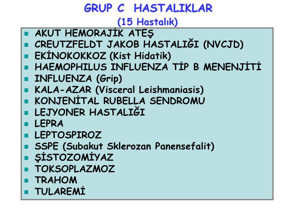GRUP C HASTALIKLAR (15 Hastalık) AKUT HEMORAJİK ATEŞ