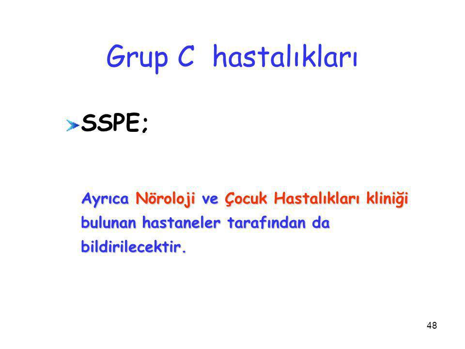 Grup C hastalıkları SSPE;