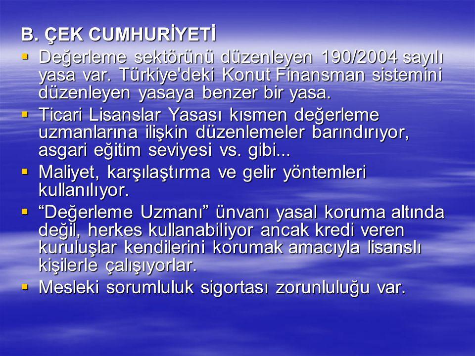 B. ÇEK CUMHURİYETİ Değerleme sektörünü düzenleyen 190/2004 sayılı yasa var. Türkiye deki Konut Finansman sistemini düzenleyen yasaya benzer bir yasa.