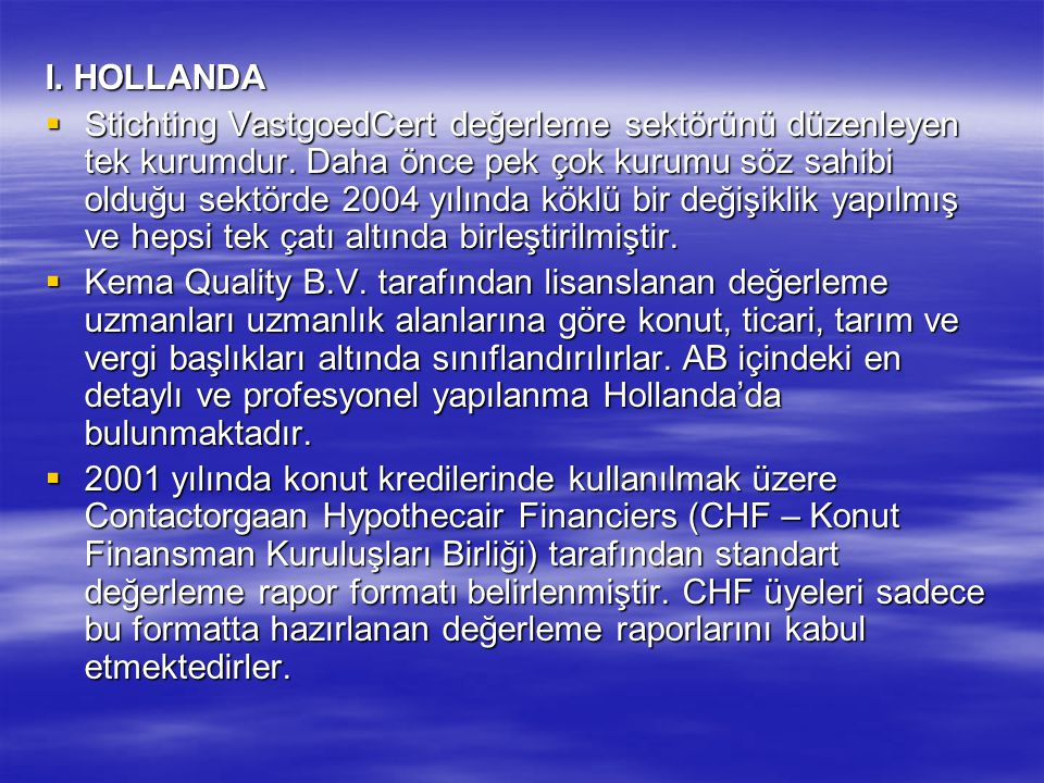I. HOLLANDA