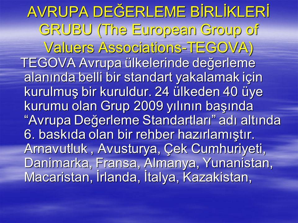 AVRUPA DEĞERLEME BİRLİKLERİ GRUBU (The European Group of Valuers Associations-TEGOVA)