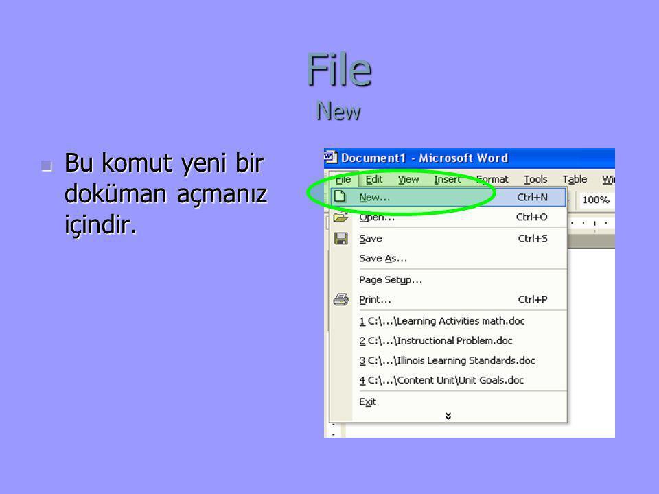 File New Bu komut yeni bir doküman açmanız içindir.