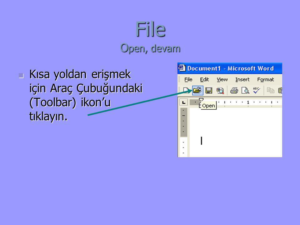 File Open, devam Kısa yoldan erişmek için Araç Çubuğundaki (Toolbar) ikon'u tıklayın.