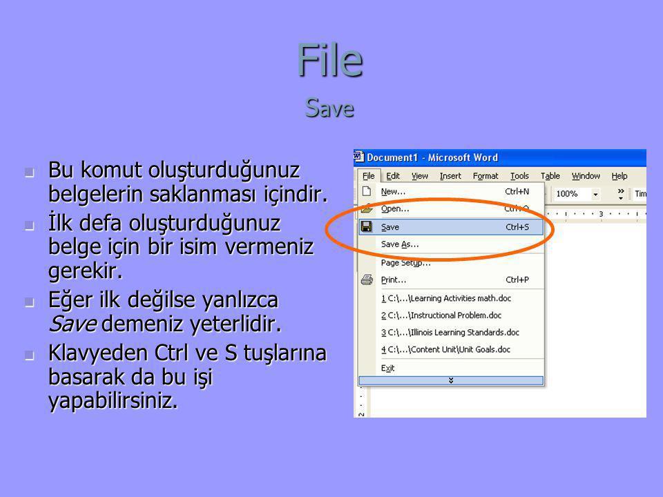 File Save Bu komut oluşturduğunuz belgelerin saklanması içindir.