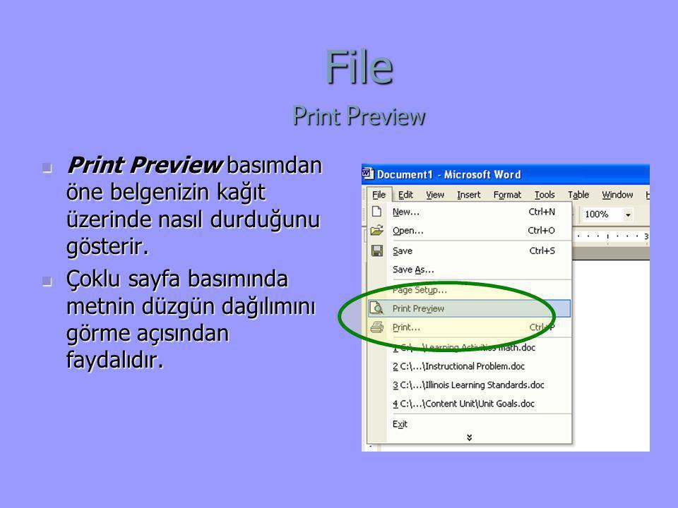 File Print Preview. Print Preview basımdan öne belgenizin kağıt üzerinde nasıl durduğunu gösterir.