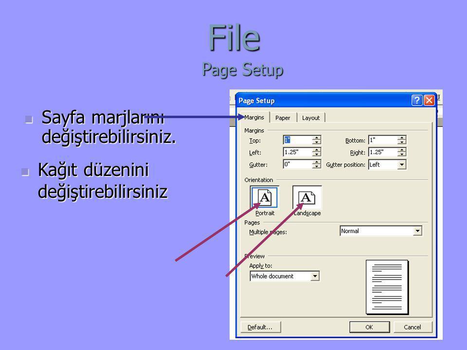 File Page Setup Sayfa marjlarını değiştirebilirsiniz.