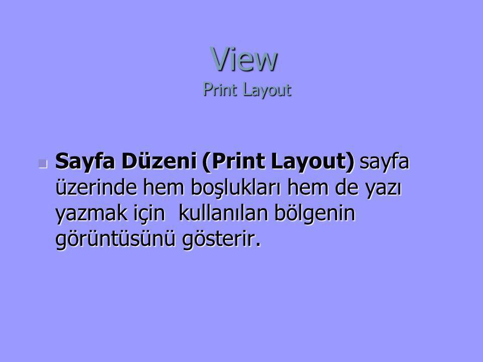 View Print Layout Sayfa Düzeni (Print Layout) sayfa üzerinde hem boşlukları hem de yazı yazmak için kullanılan bölgenin görüntüsünü gösterir.