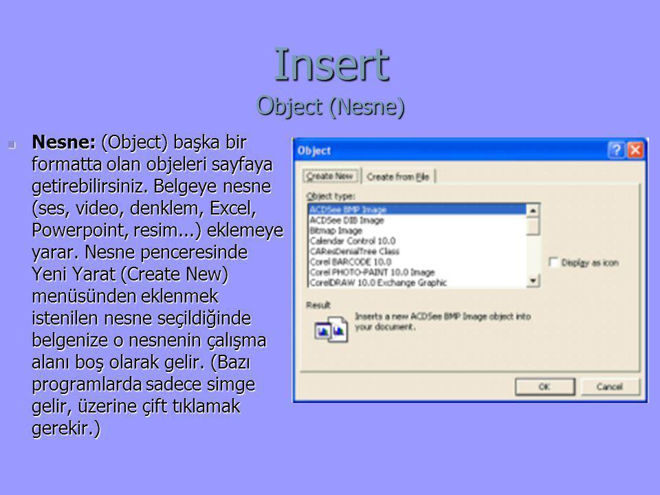 Insert Object (Nesne)