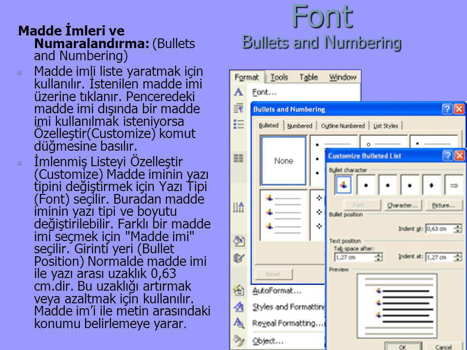 Font Bullets and Numbering