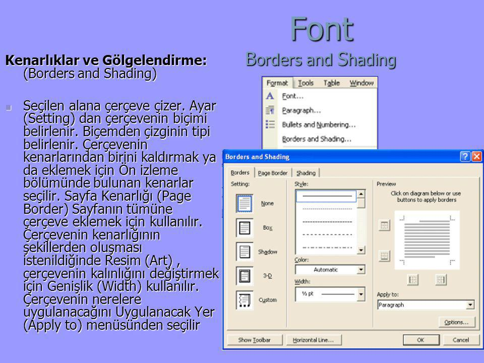 Font Borders and Shading