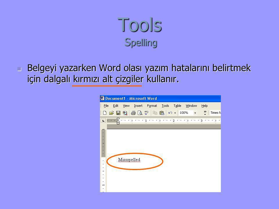 Tools Spelling Belgeyi yazarken Word olası yazım hatalarını belirtmek için dalgalı kırmızı alt çizgiler kullanır.