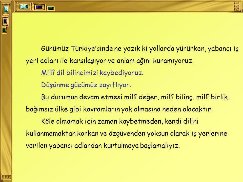 Günümüz Türkiye'sinde ne yazık ki yollarda yürürken, yabancı iş yeri adları ile karşılaşıyor ve anlam ağını kuramıyoruz.