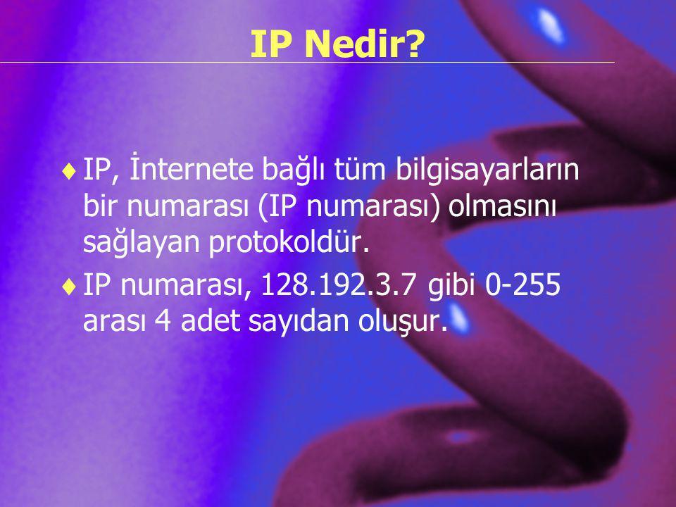 IP Nedir IP, İnternete bağlı tüm bilgisayarların bir numarası (IP numarası) olmasını sağlayan protokoldür.