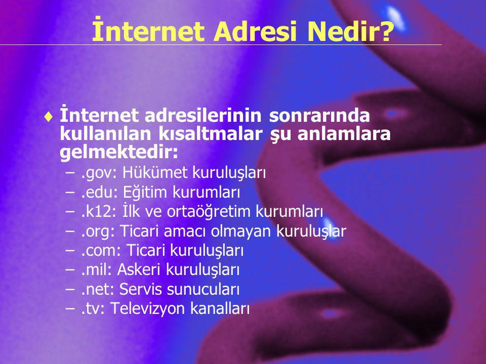 İnternet Adresi Nedir İnternet adresilerinin sonrarında kullanılan kısaltmalar şu anlamlara gelmektedir: