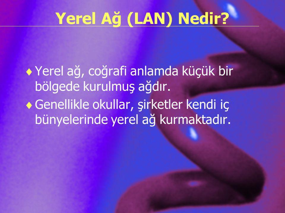 Yerel Ağ (LAN) Nedir Yerel ağ, coğrafi anlamda küçük bir bölgede kurulmuş ağdır.