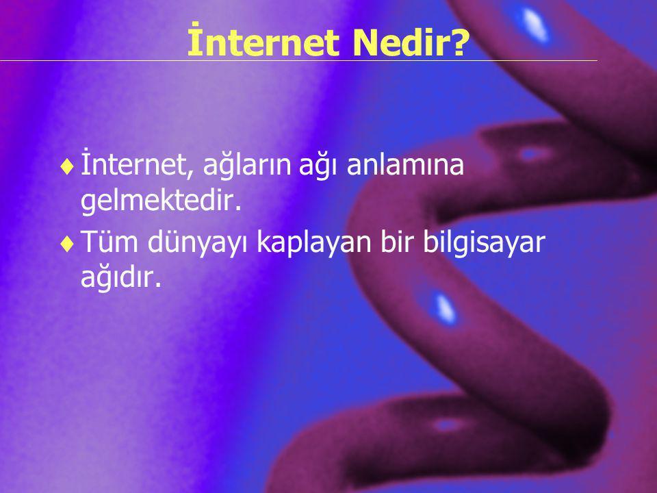 İnternet Nedir İnternet, ağların ağı anlamına gelmektedir.