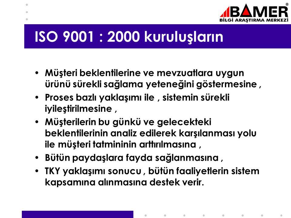 ISO 9001 : 2000 kuruluşların Müşteri beklentilerine ve mevzuatlara uygun ürünü sürekli sağlama yeteneğini göstermesine ,