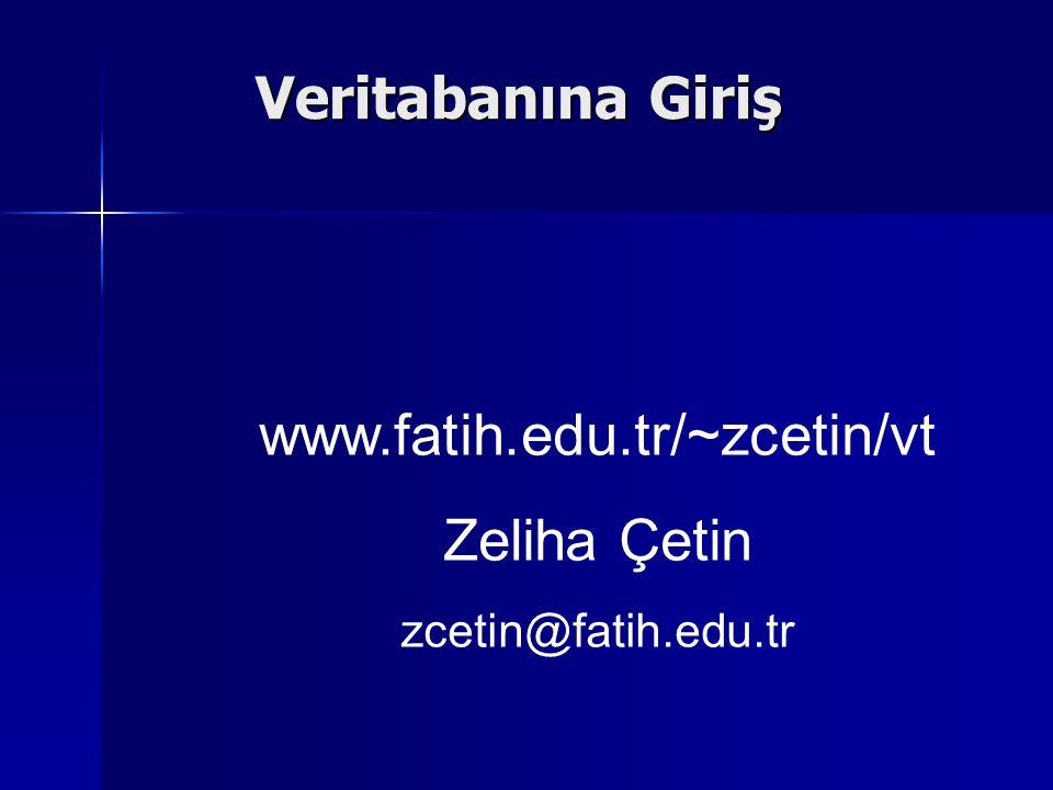 Veritabanına Giriş www.fatih.edu.tr/~zcetin/vt Zeliha Çetin