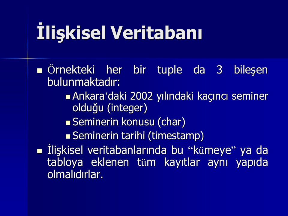 İlişkisel Veritabanı Örnekteki her bir tuple da 3 bileşen bulunmaktadır: Ankara'daki 2002 yılındaki kaçıncı seminer olduğu (integer)