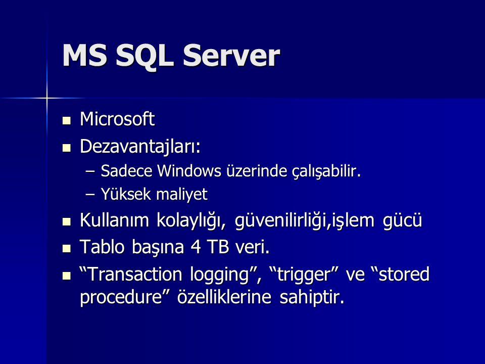 MS SQL Server Microsoft Dezavantajları: