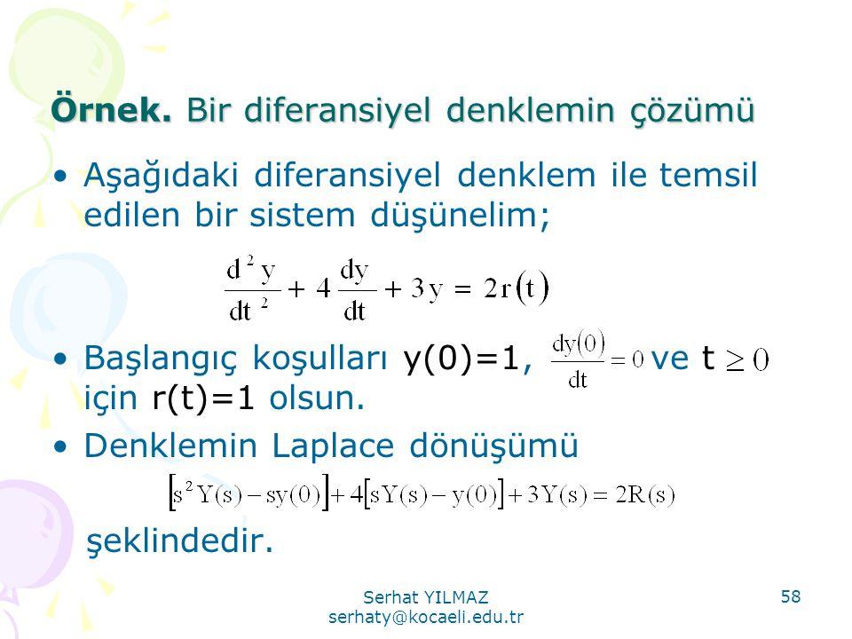 Örnek. Bir diferansiyel denklemin çözümü