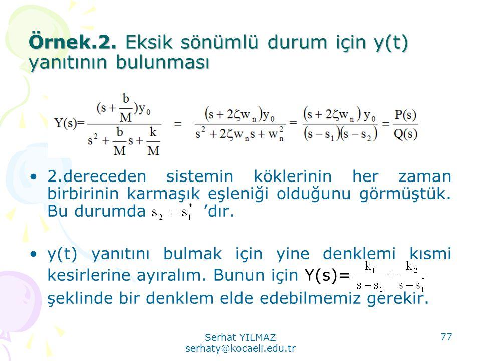 Örnek.2. Eksik sönümlü durum için y(t) yanıtının bulunması