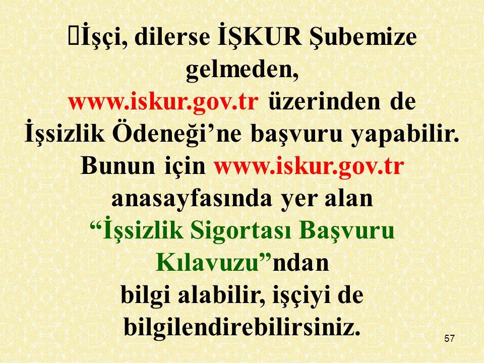 Øİşçi, dilerse İŞKUR Şubemize gelmeden, www.iskur.gov.tr üzerinden de