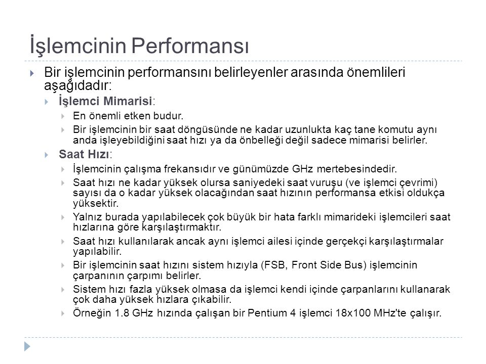 İşlemcinin Performansı