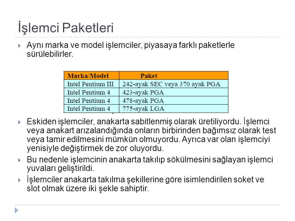 İşlemci Paketleri Aynı marka ve model işlemciler, piyasaya farklı paketlerle sürülebilirler.