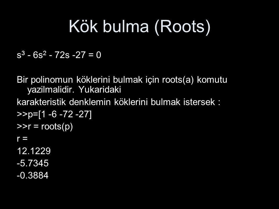 Kök bulma (Roots) s3 - 6s2 - 72s -27 = 0