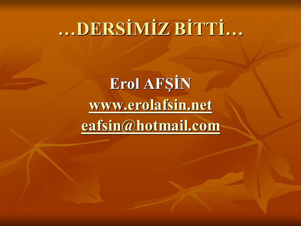 …DERSİMİZ BİTTİ… Erol AFŞİN www.erolafsin.net eafsin@hotmail.com