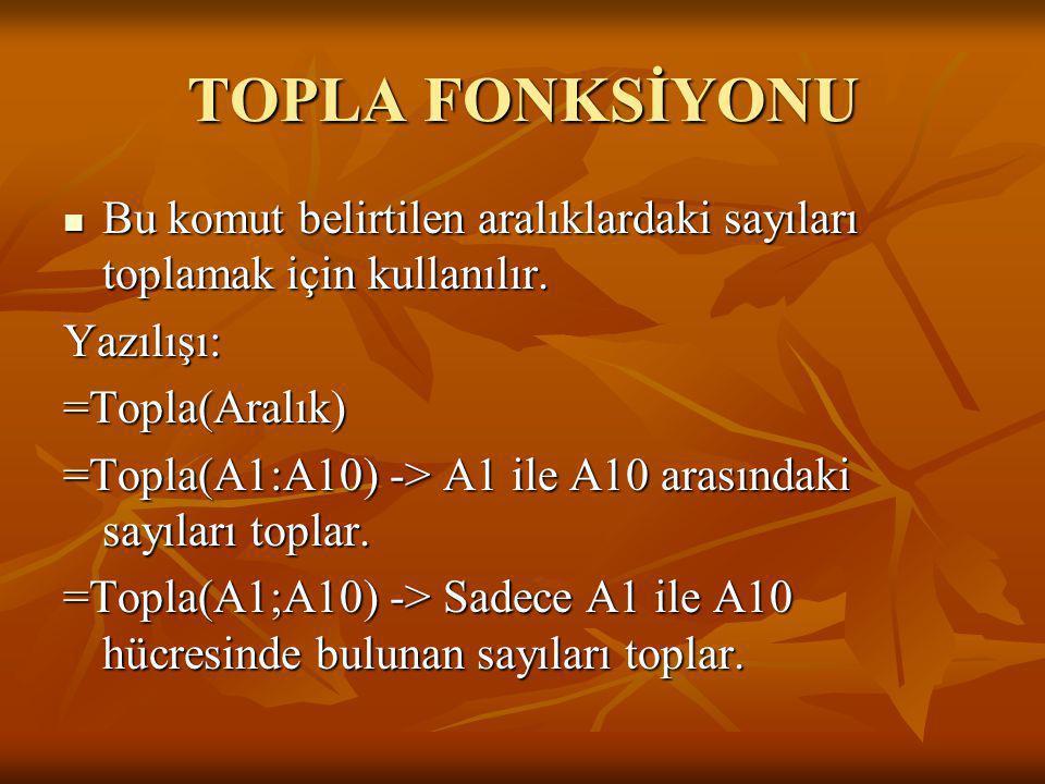 TOPLA FONKSİYONU Bu komut belirtilen aralıklardaki sayıları toplamak için kullanılır. Yazılışı: =Topla(Aralık)