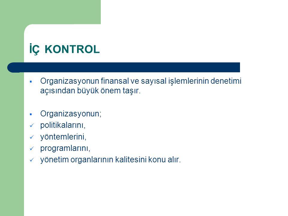 İÇ KONTROL Organizasyonun finansal ve sayısal işlemlerinin denetimi açısından büyük önem taşır. Organizasyonun;