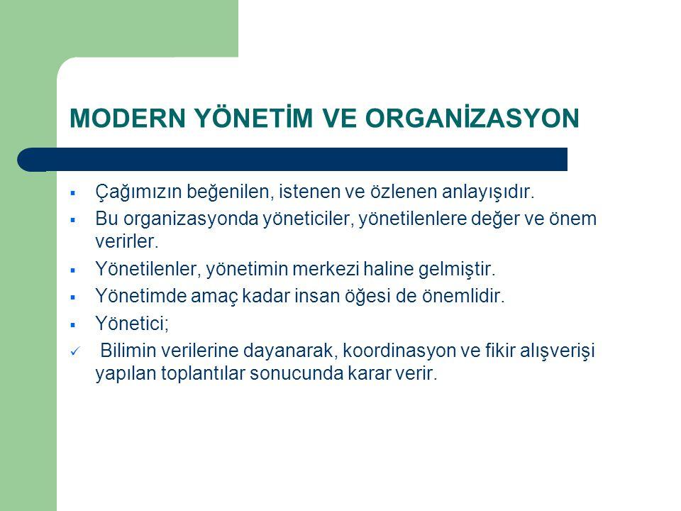 MODERN YÖNETİM VE ORGANİZASYON