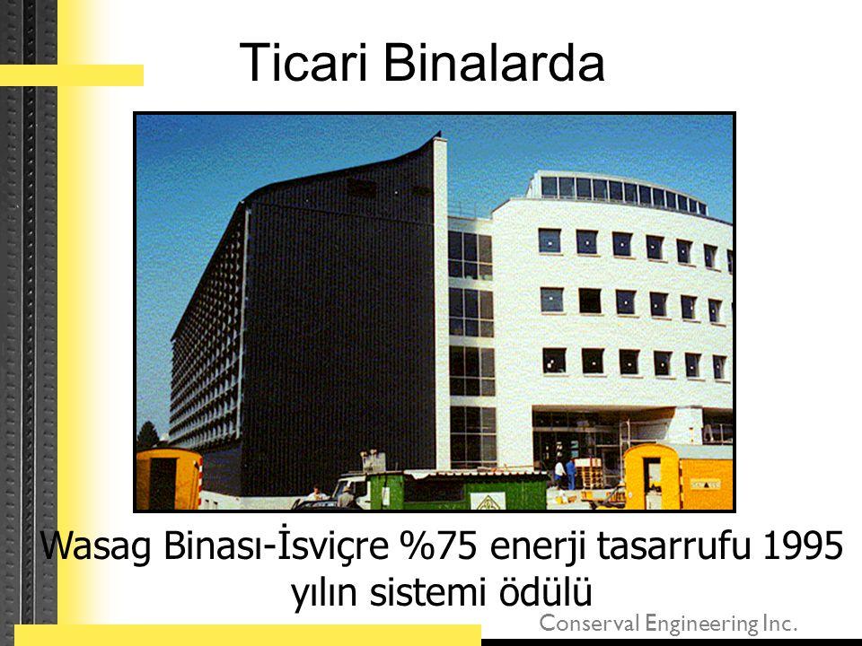 Wasag Binası-İsviçre %75 enerji tasarrufu 1995 yılın sistemi ödülü