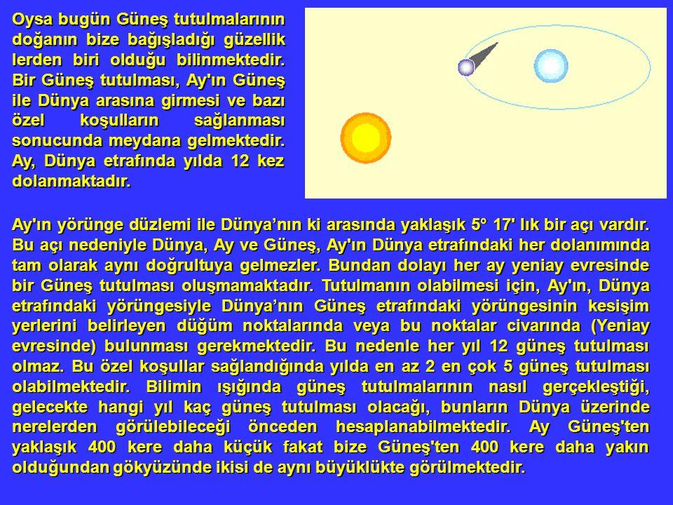 Oysa bugün Güneş tutulmalarının doğanın bize bağışladığı güzellik lerden biri olduğu bilinmektedir. Bir Güneş tutulması, Ay ın Güneş ile Dünya arasına girmesi ve bazı özel koşulların sağlanması sonucunda meydana gelmektedir. Ay, Dünya etrafında yılda 12 kez dolanmaktadır.