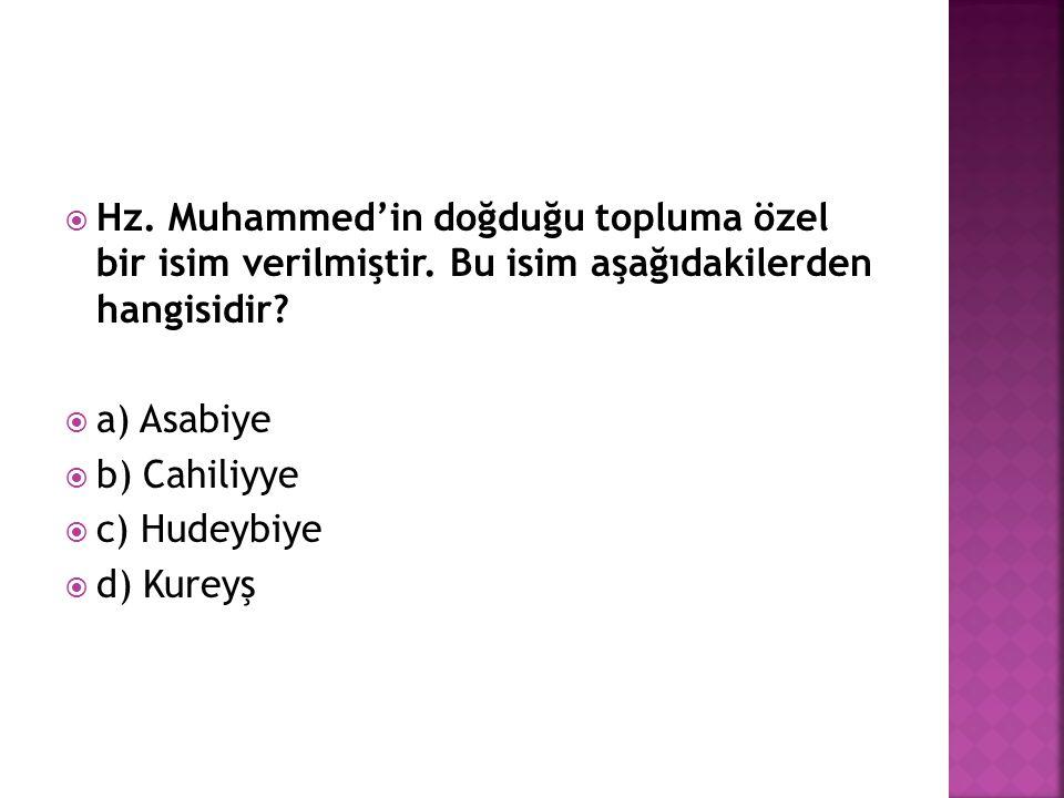 Hz. Muhammed'in doğduğu topluma özel bir isim verilmiştir