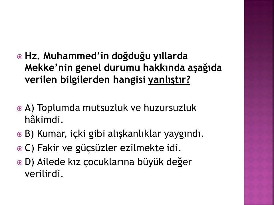 Hz. Muhammed'in doğduğu yıllarda Mekke'nin genel durumu hakkında aşağıda verilen bilgilerden hangisi yanlıştır
