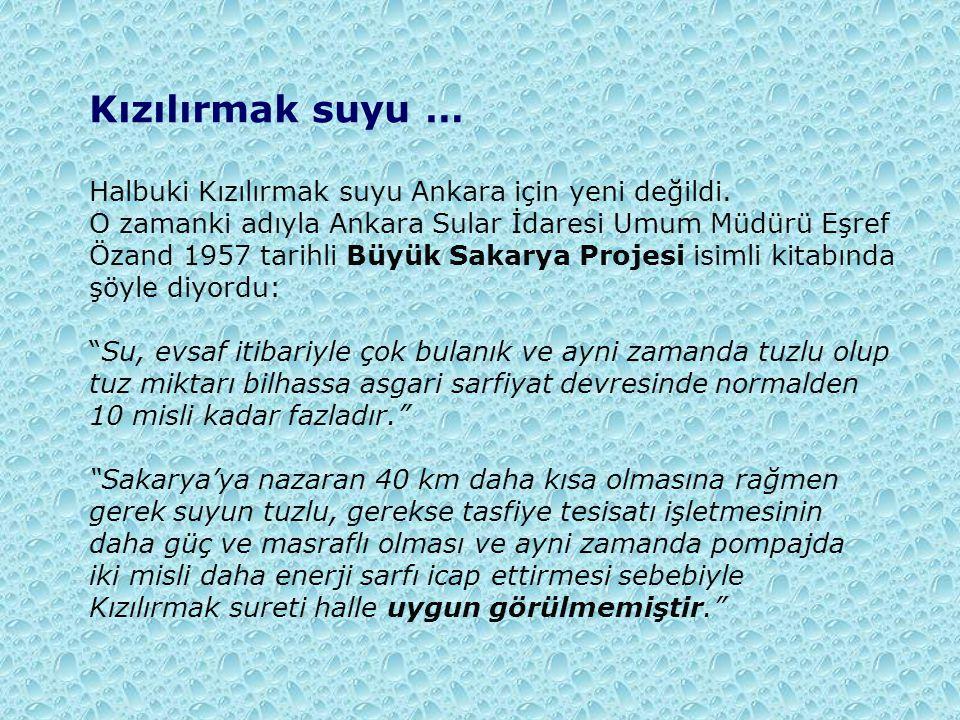 Kızılırmak suyu … Halbuki Kızılırmak suyu Ankara için yeni değildi.