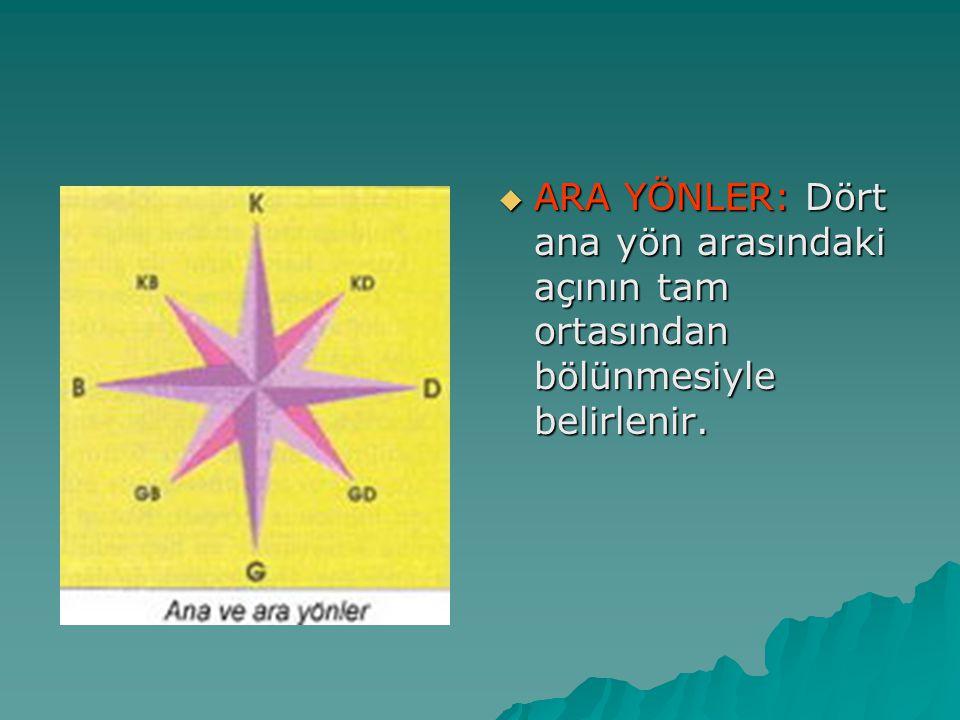 ARA YÖNLER: Dört ana yön arasındaki açının tam ortasından bölünmesiyle belirlenir.