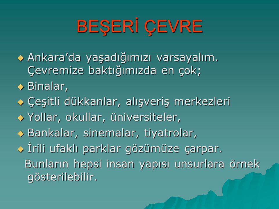 BEŞERİ ÇEVRE Ankara'da yaşadığımızı varsayalım. Çevremize baktığımızda en çok; Binalar, Çeşitli dükkanlar, alışveriş merkezleri.