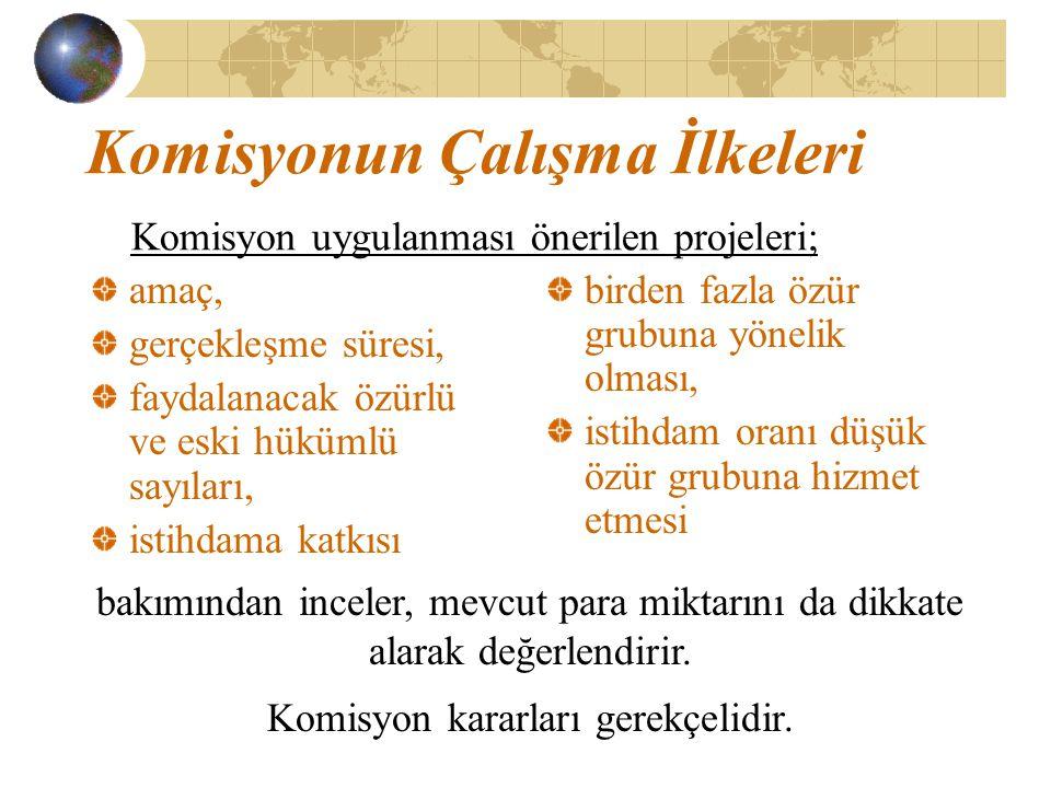 Komisyonun Çalışma İlkeleri Komisyon uygulanması önerilen projeleri;