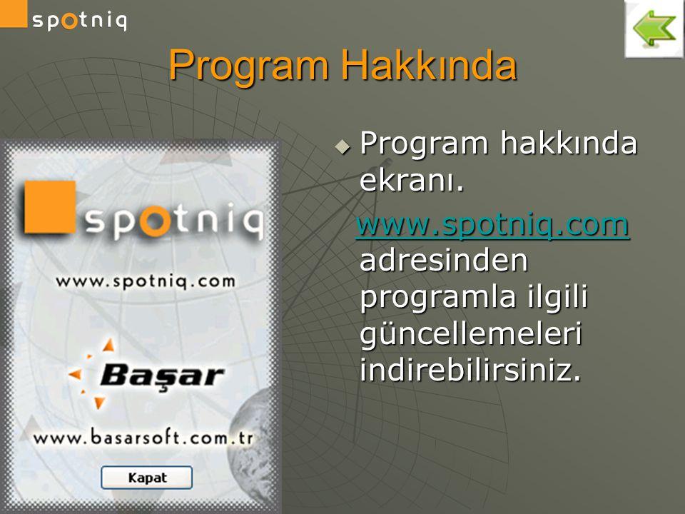Program Hakkında Program hakkında ekranı.