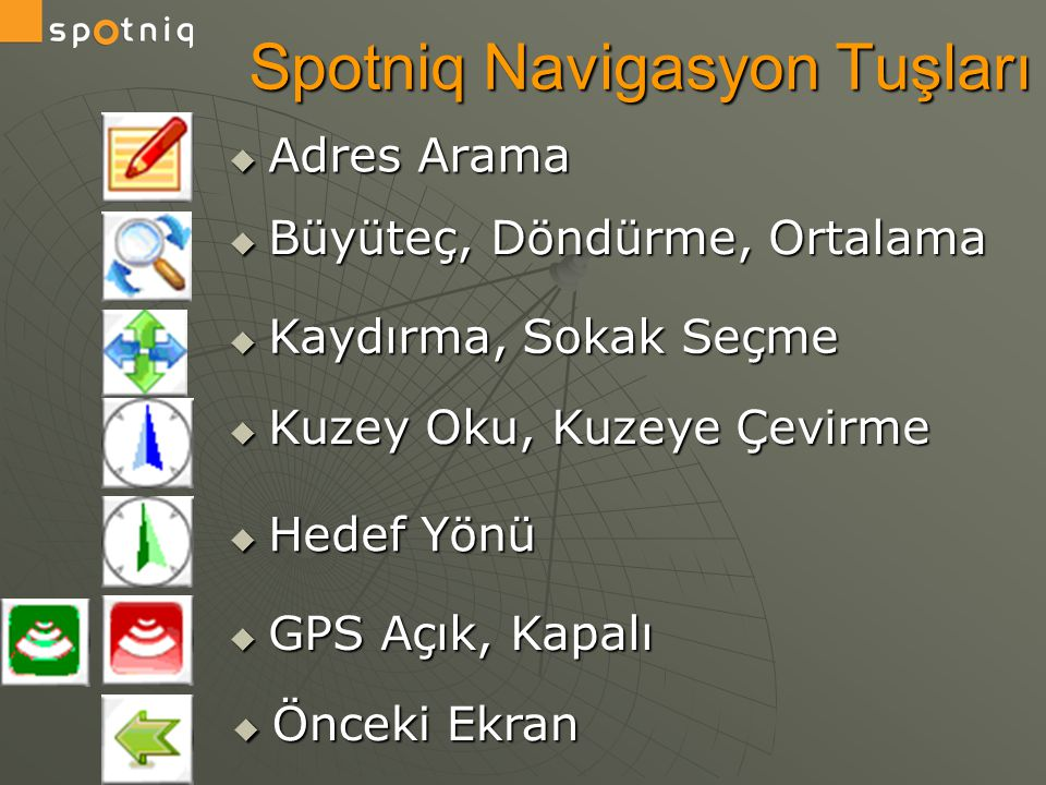 Spotniq Navigasyon Tuşları