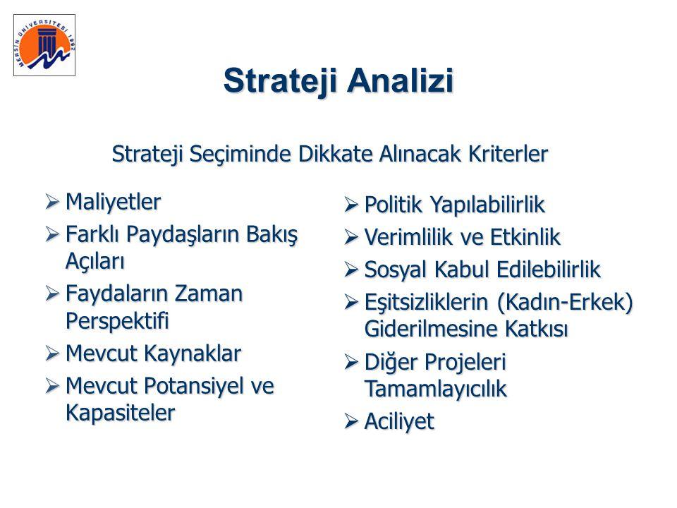 Strateji Seçiminde Dikkate Alınacak Kriterler