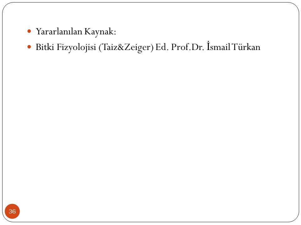 Yararlanılan Kaynak: Bitki Fizyolojisi (Taiz&Zeiger) Ed. Prof.Dr. İsmail Türkan