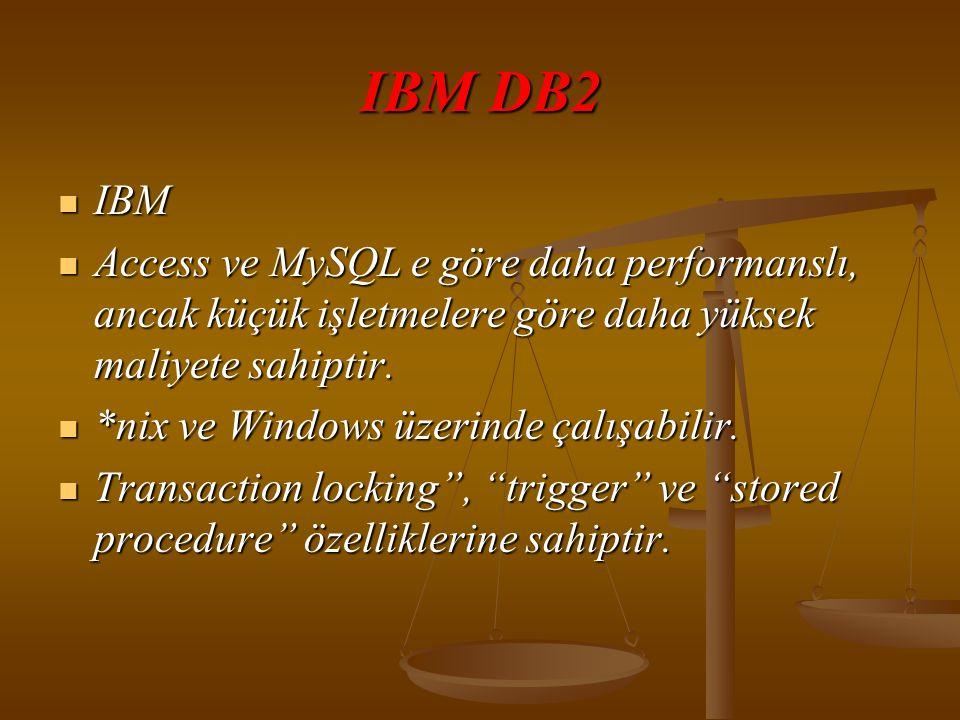 IBM DB2 IBM. Access ve MySQL e göre daha performanslı, ancak küçük işletmelere göre daha yüksek maliyete sahiptir.