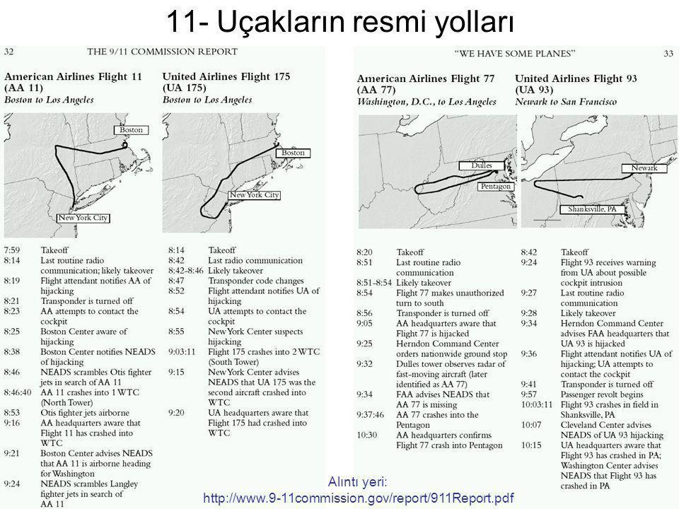 11- Uçakların resmi yolları
